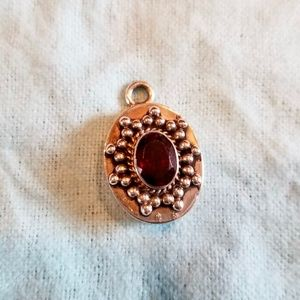 Garnet and Sterling Silver Pendant Charm